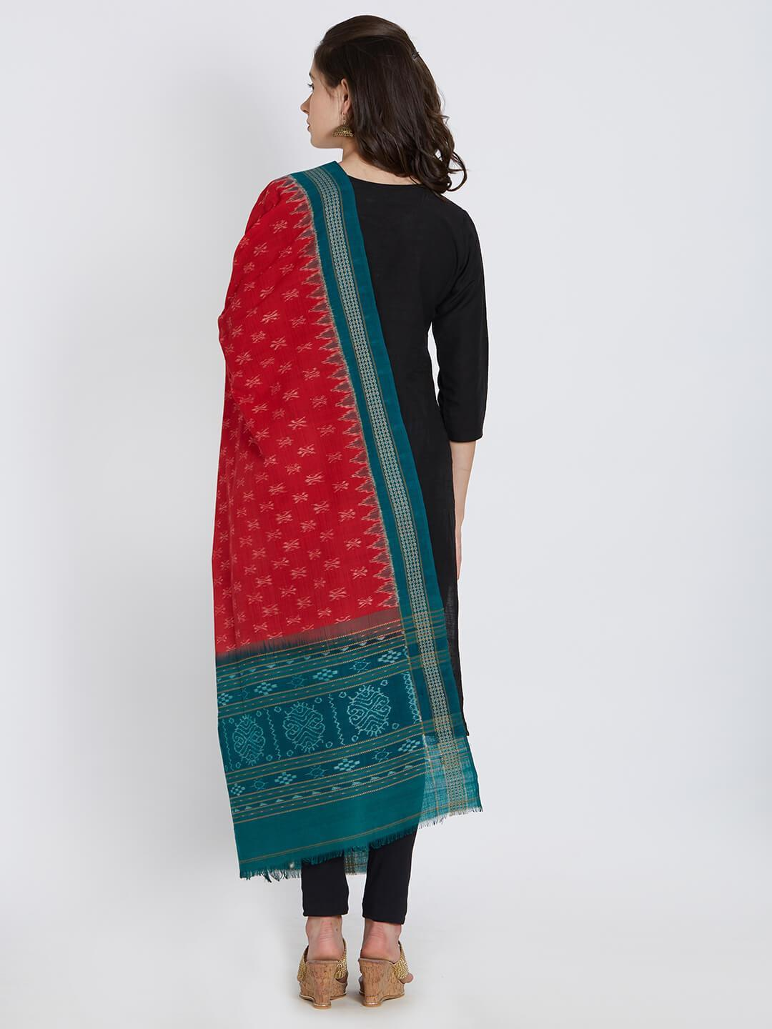 CraftsCollection.in - Red and Green Sambalpuri  Cotton Dupatta