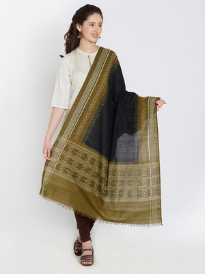 CraftsCollection.in - Black and Olive Cotton Sambalpuri Dupatta