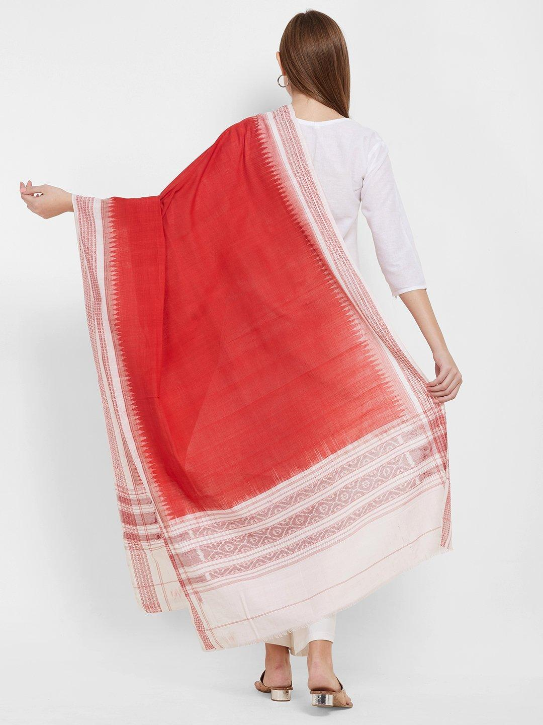 CraftsCollection.in -Red and White Sambalpuri Cotton Dupatta