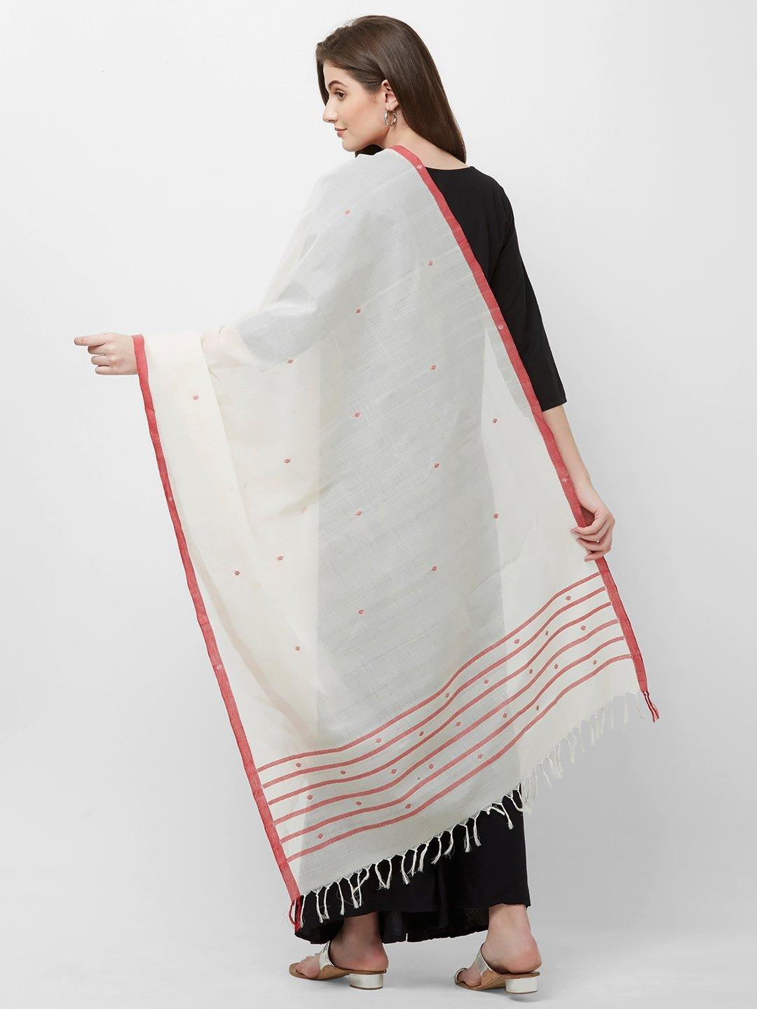 CraftsCollection.in -White  Odisha Cotton Sambalpuri Dupatta