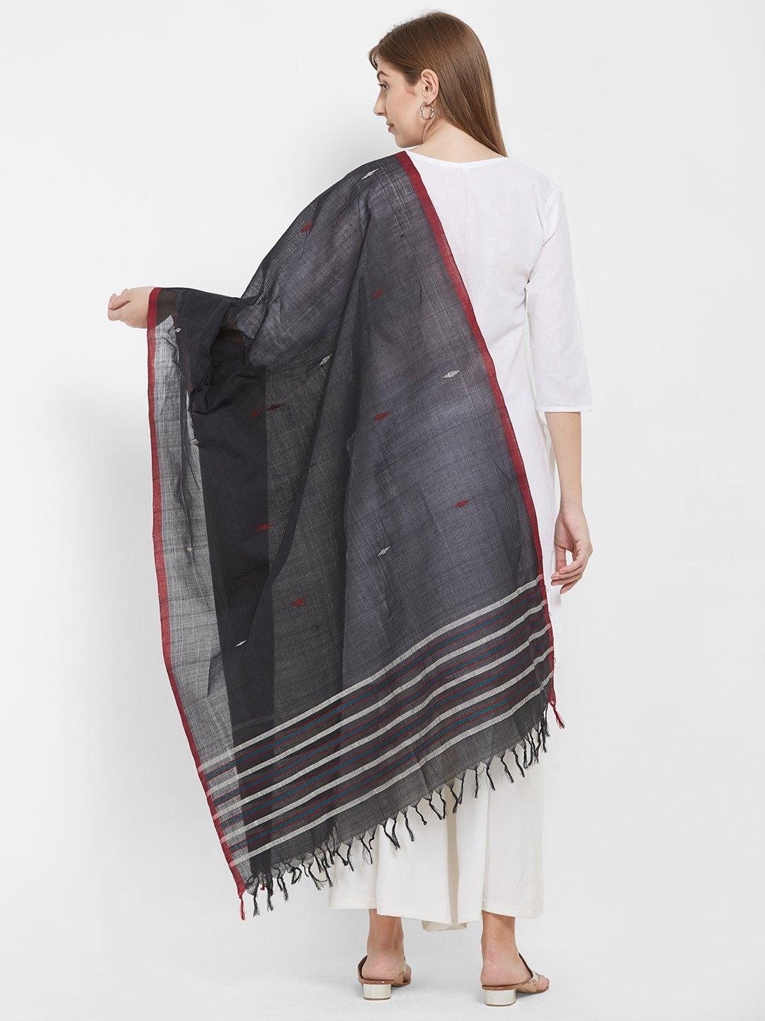 CraftsCollection.in -Black Odisha Cotton Sambalpuri Dupatta