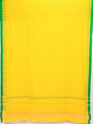 CraftsCollection.in - Woollen Yellow Dupatta with Woven Temple Border
