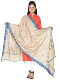 CraftsCollection.in - Tussar Silk Dupatta with handblock motifs