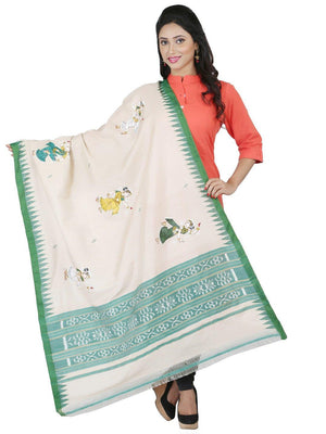 CraftsCollection.in - Beige Tussar Silk Dupatta with Hand Painted Pattachitra Art