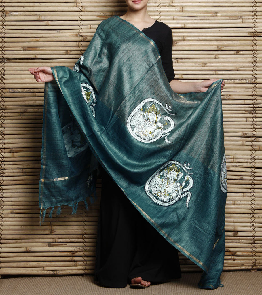 CraftsCollection.in - Green Tussar Ghicha Silk Dupatta with handpainted Pattachitra art