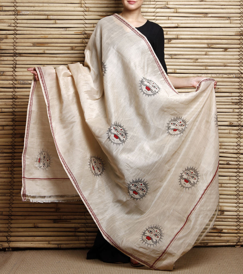 CraftsCollection.in - Beige Cotton Dupatta with Hand Painted Tribal Art