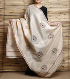CraftsCollection.in - Beige Cotton Dupatta with Handpainted Tribal art