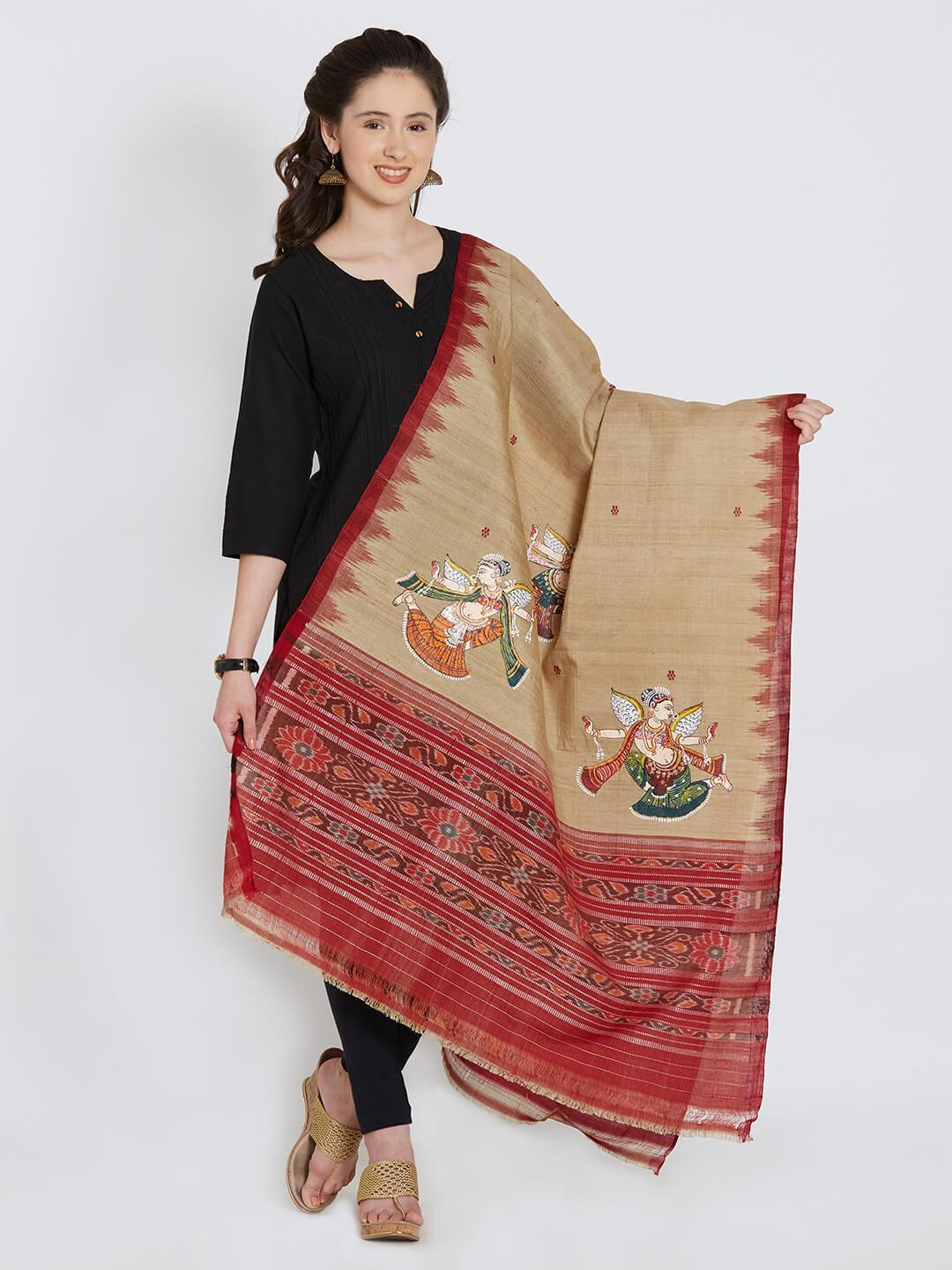 CraftsCollection.in - Beige Sambalpuri Tussar Dupatta with Pattachitra motifs