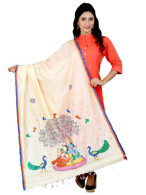 CraftsCollection.in - Tussar Silk  Dupatta with Hand Painted Pattachitra Art