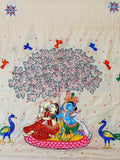 CraftsCollection.in - Tussar Silk  Dupatta with handpianted Pattachitra art