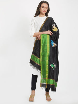 Black and Green Tussar Silk Dupatta with handpainted pattachitra motifs