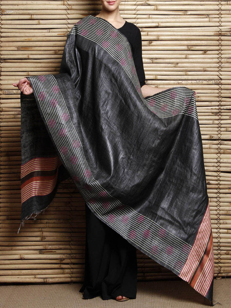 CraftsCollection.in - Black Tussar Silk handloom Dupatta