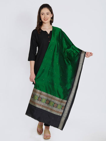 CraftsCollection.in - Green Bomkai Silk Dupatta