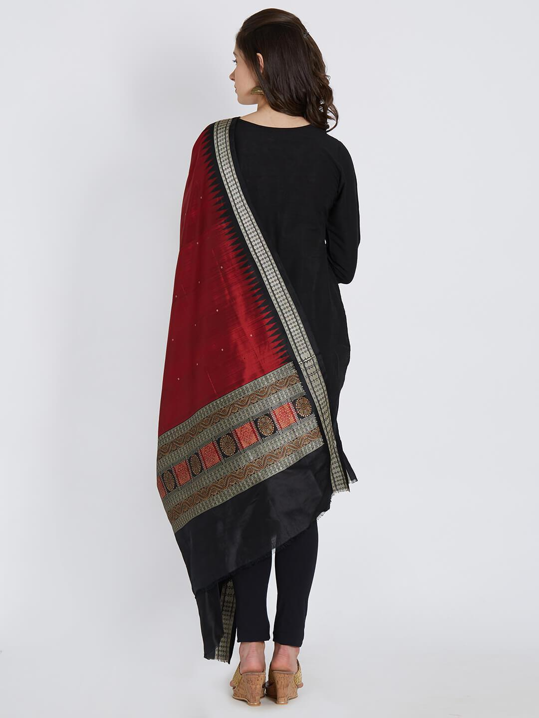 CraftsCollection.in - Maroon Bomkai Silk Dupatta