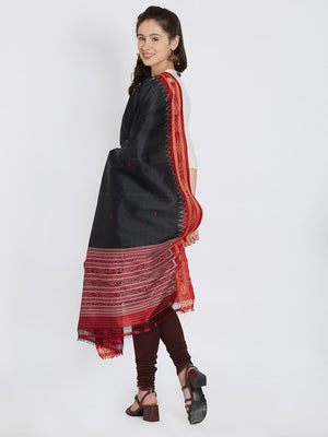 CraftsCollection.in - Black and Red Khandua Silk Dupatta