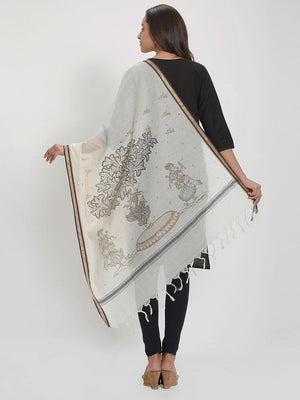 Off-white cotton Dupatta with handpainted pattachitra motifs
