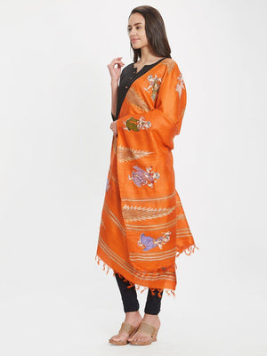 Orange Tussar Silk Dupatta with handpainted pattachitra motifs