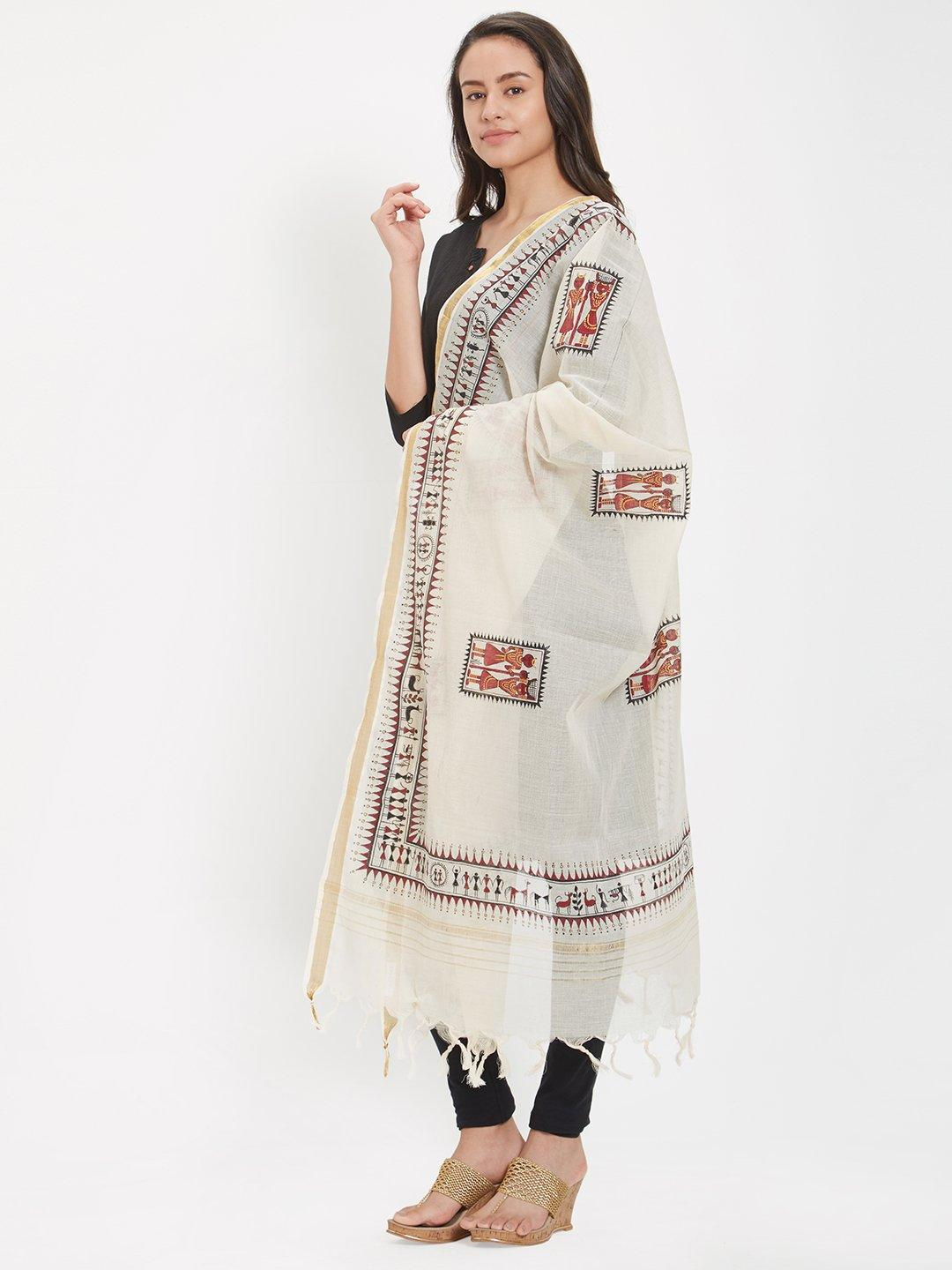 Off-white Dupatta with handpainted tribal motifs