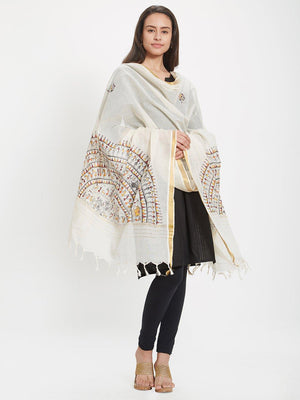 CraftsCollection.in - Off-White Dupatta with handpainted tribal motifs