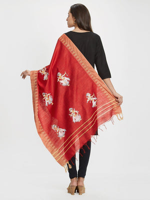 CraftsCollection.in - Red Dupatta with handpainted Pattachitra motifs