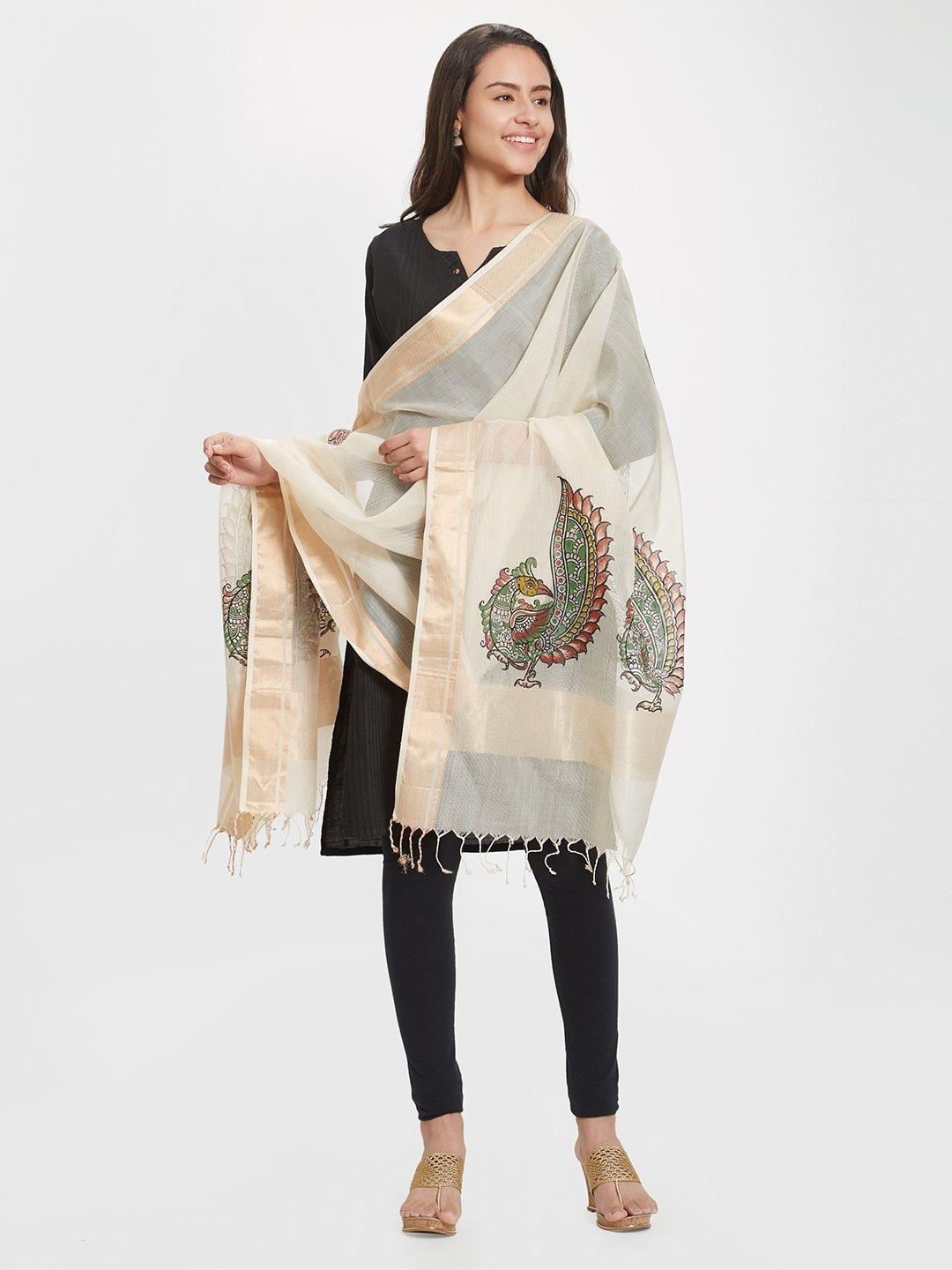 CraftsCollection.in - Beige Cotton Dupatta with handpainted Kalamkari motifs