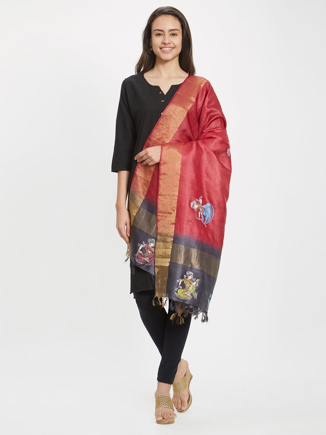 Silk Dupatta with handpainted pattachitra motifs