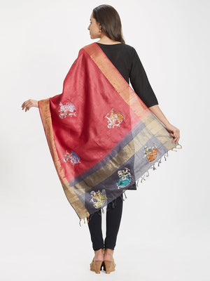 CraftsCollection.in - Pink Silk dupatta with handpainted Pattachitra motifs