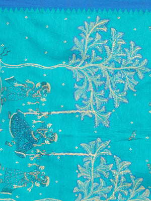 CraftsCollection.in - Blue Dupatta with handpainted Pattachitra motifs