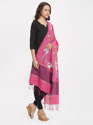 CraftsCollection.in - Pink Cotton Dupatta with handpainted Pattachitra motifs