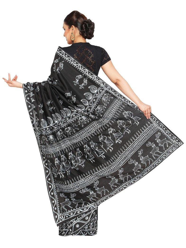 CraftsCollection.in - Black Art Silk Saree with handpainted Tribal art