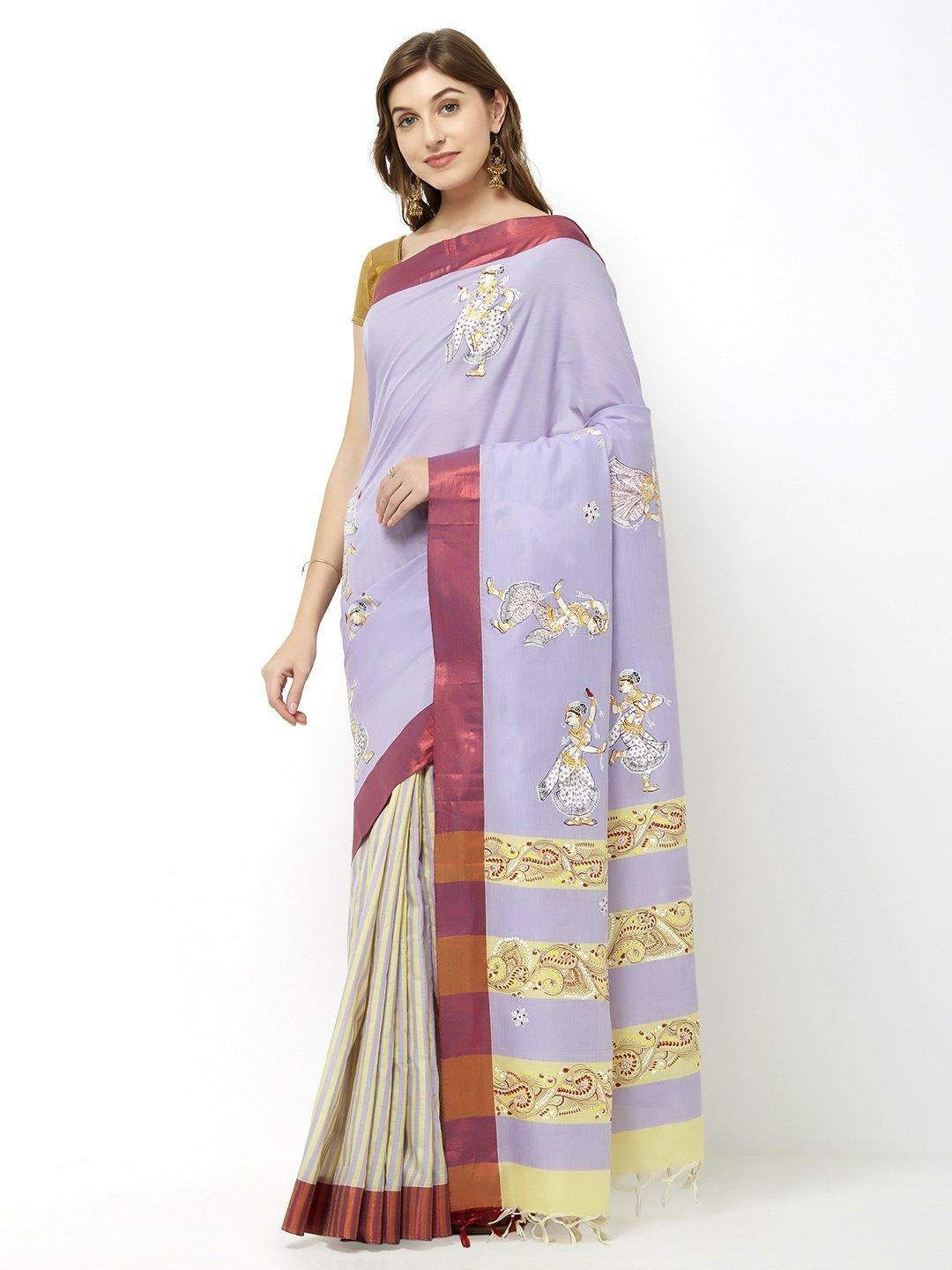 CraftsCollection.in - Grey Cotton Saree With Pattachitra motifs