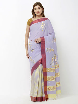 CraftsCollection.in - Grey Cotton Saree with handpainted Pattachitra motifs
