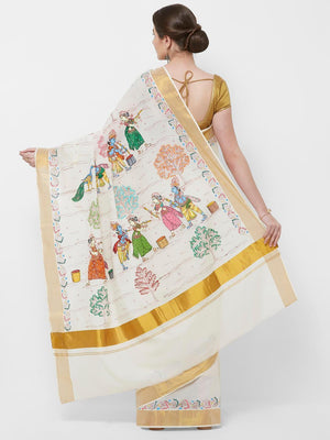 CraftsCollection.in -Offwhite Cotton Saree with  handpainted Pattachitra motifs