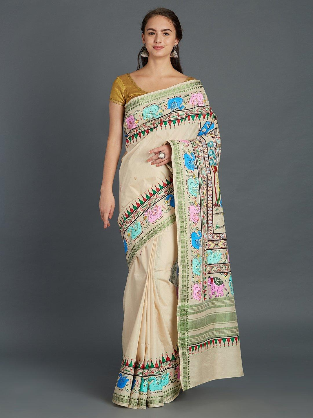 Cotton Saree with handpainted Pattachitra motifs