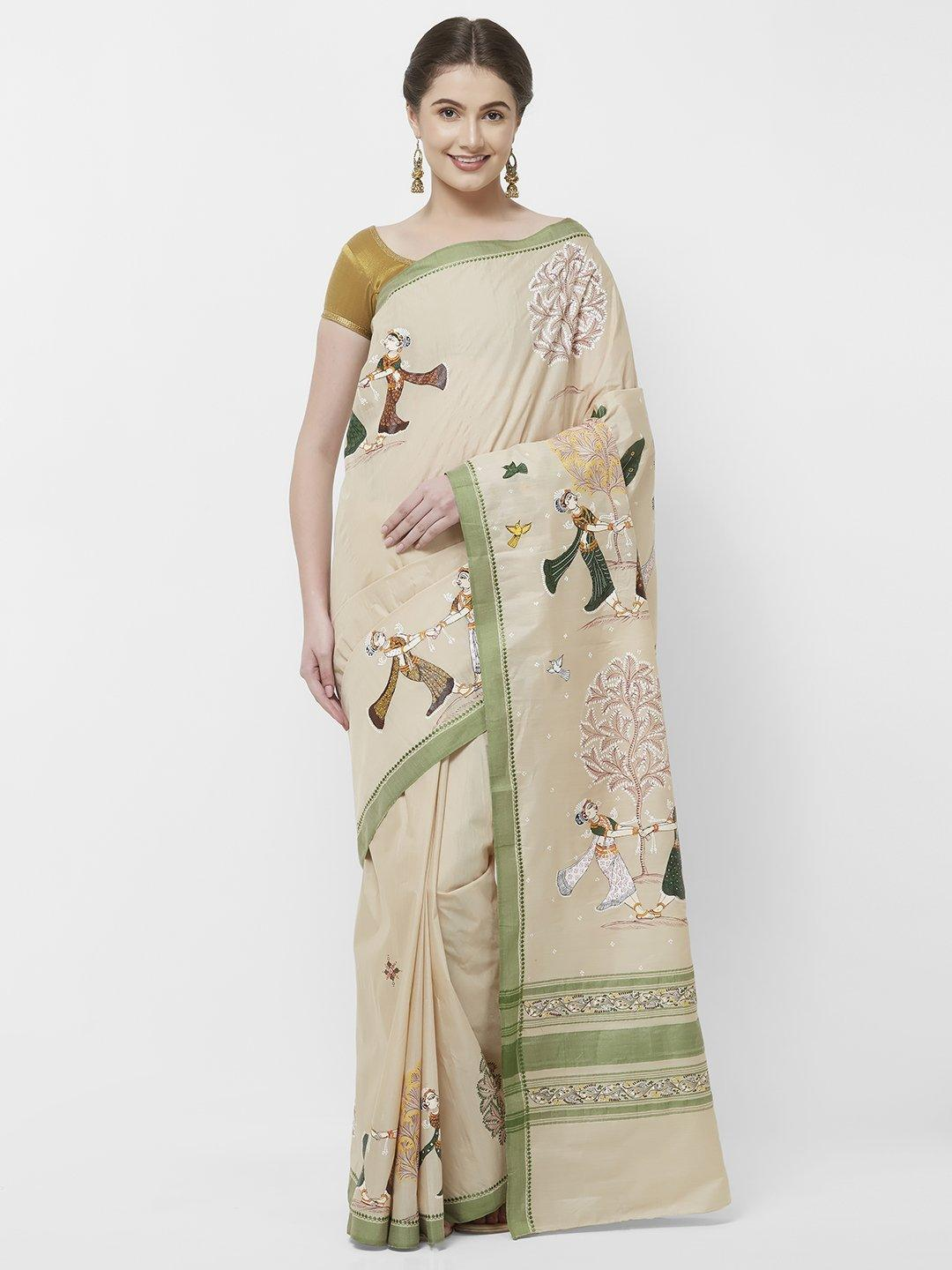 CraftsCollection.in -Beige Cotton Saree with handpainted Pattachitra art