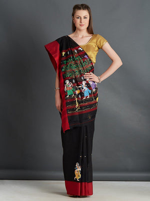 Black Cotton Saree with Pattachitra Motifs