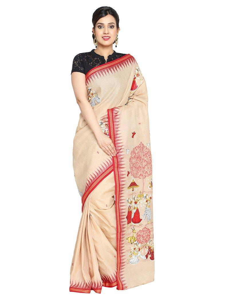 CraftsCollection.in - Sambalpuri Cotton Saree with handpainted pattachitra art
