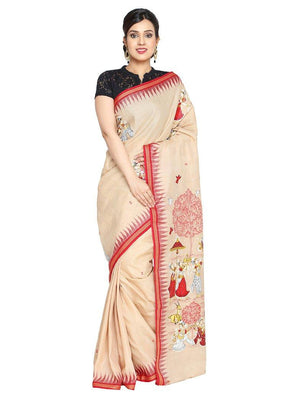 CraftsCollection.in - Sambalpuri Cotton Saree with Hand Painted Pattachitra Art