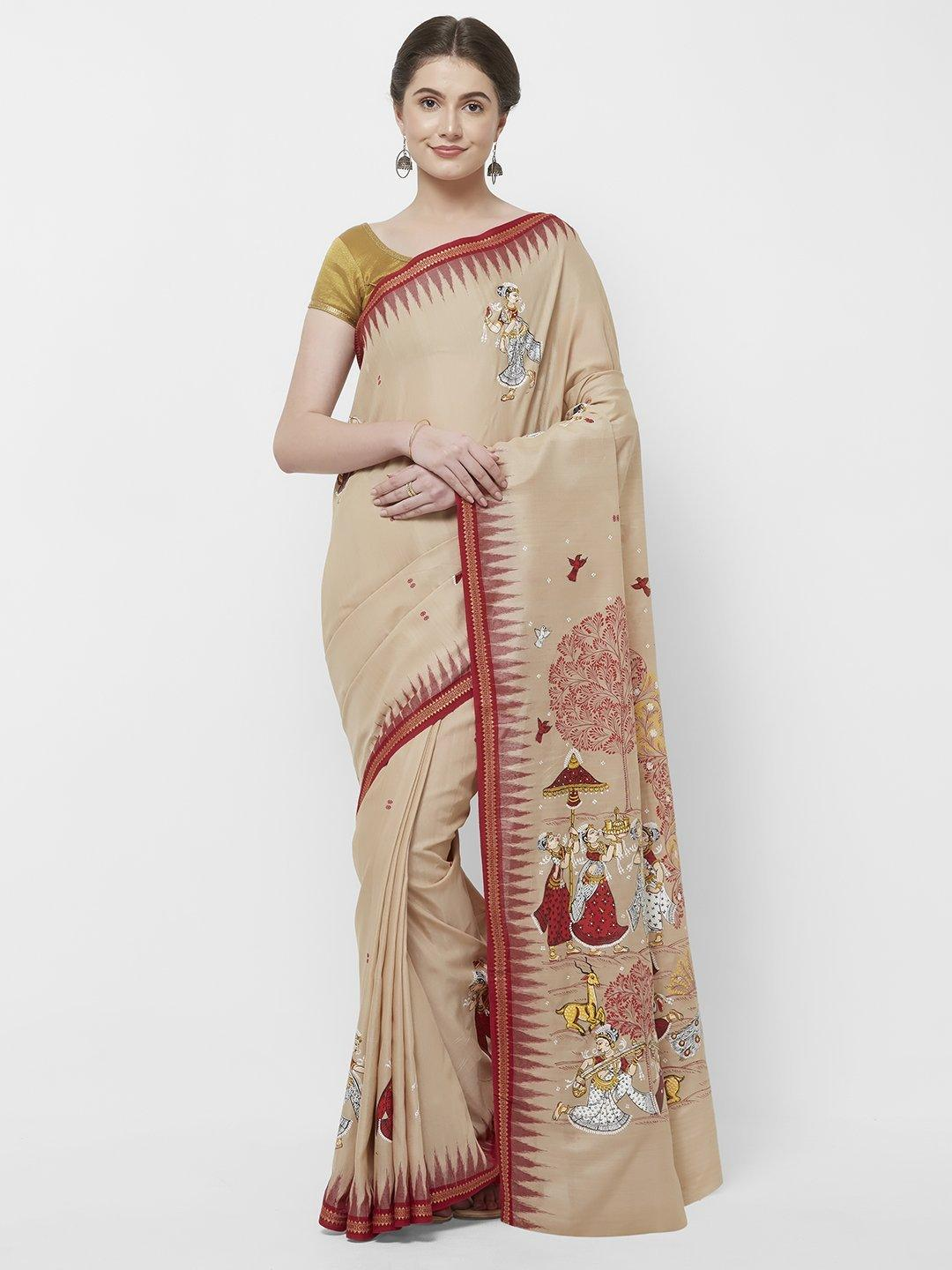 CraftsCollection.in -Odisha Sambalpuri Ikat Saree with  handpainted Pattachitra motifs