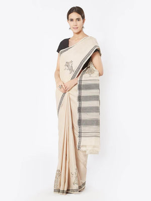 CraftsCollection.in - Beige Bapta Cotton Saree with Pattachitra Motifs