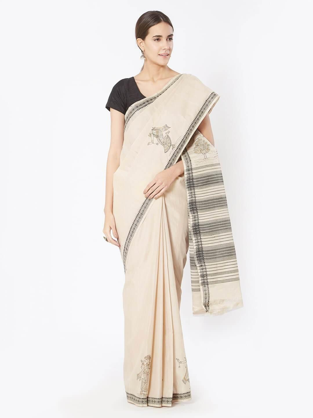 CraftsCollection.in - Beige Bapta Cotton Saree with Pattchitra motifs