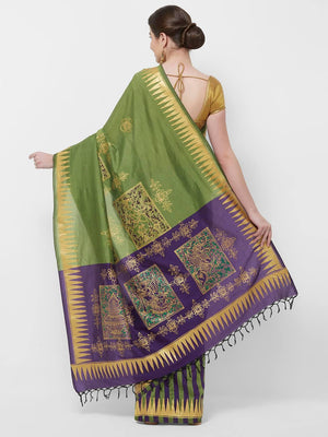 CraftsCollection.in -Green Double Colour Saree with handpainted Pattachitra motifs