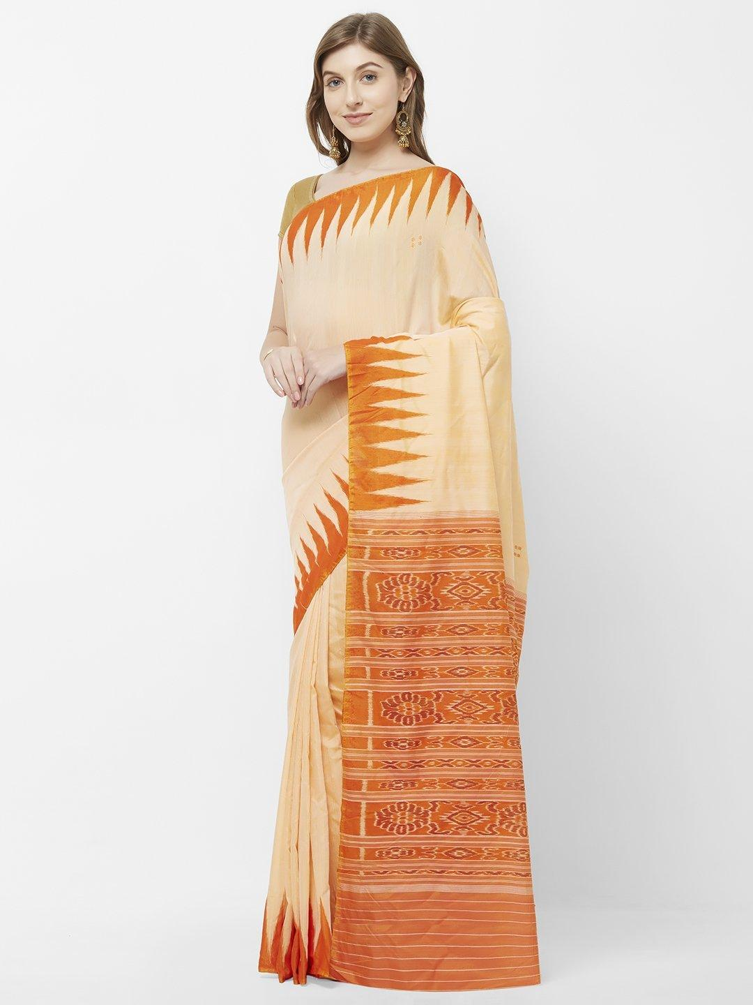 CraftsCollection.in - Peach Orange Odisha Cotton Sambalpuri Saree
