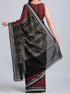 Maroon and Black Sambalpuri ikat Cotton Saree