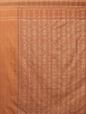 CraftsCollection.in - Green and Peach Cotton Sambalpuri Saree