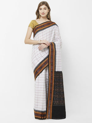 CraftsCollection.in - Off White Cotton Odisha Sachipar Saree