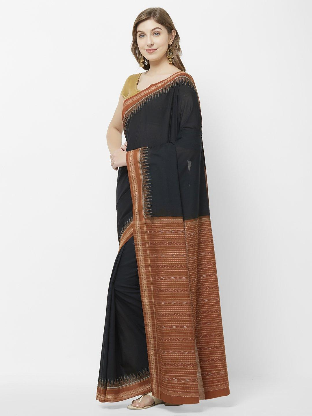 CraftsCollection.in - Black and Rust Odisha Sambalpuri Cotton Saree
