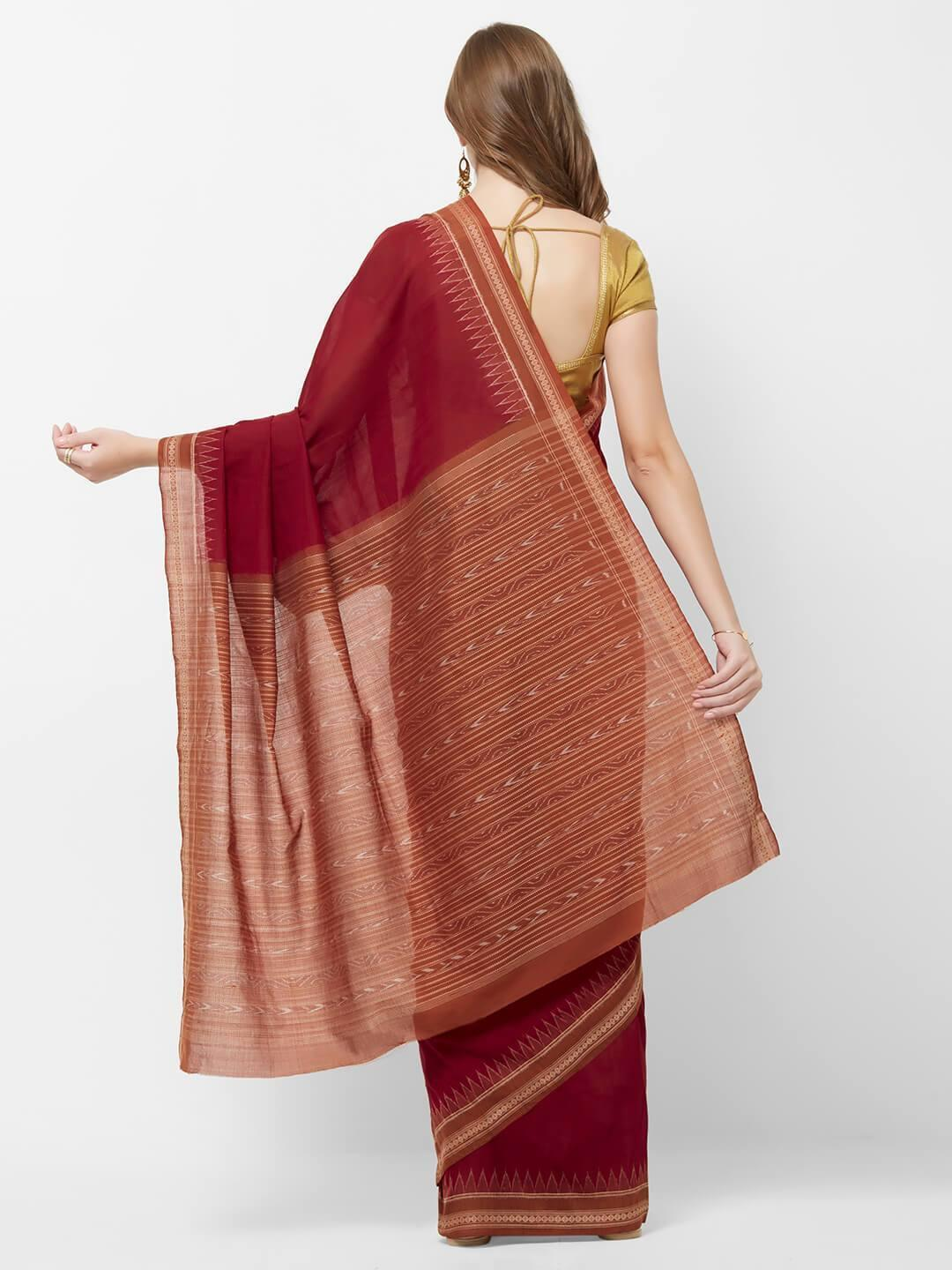 CraftsCollection.in - Maroon and Rust Odisha Sambalpuri Cotton Saree