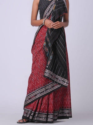 Red and Black Sambalpuri Ikat Cotton Saree