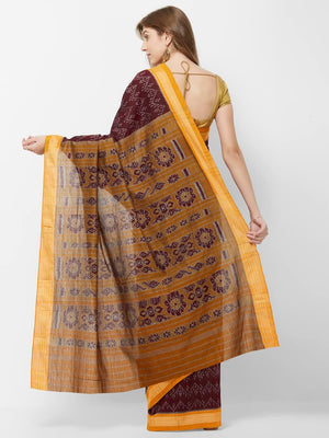 CraftsCollection.in - Maroon Cotton Odisha Sambalpuri Ikat Saree